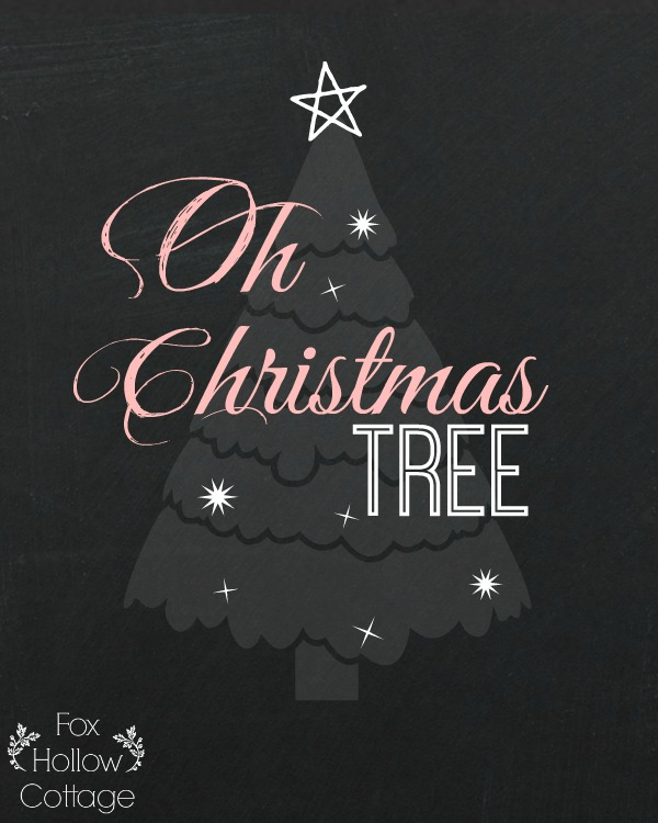 Christmas Printable - Oh Christmas Tree - Pink and Grey 8 x 10 | #Christmas #Printable
