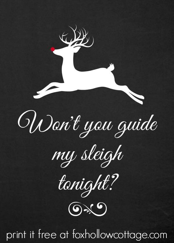 Rudolph Chalkboard Christmas Printable 5 x 7