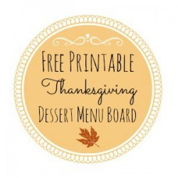 Thanksgiving Printable Dessert Menu Board