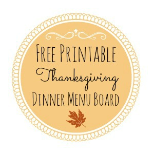 Thanksgiving Printable Dinner Menu Board