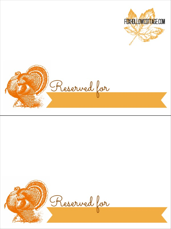 Thanksgiving Turkey Place Card Table Setting Printable