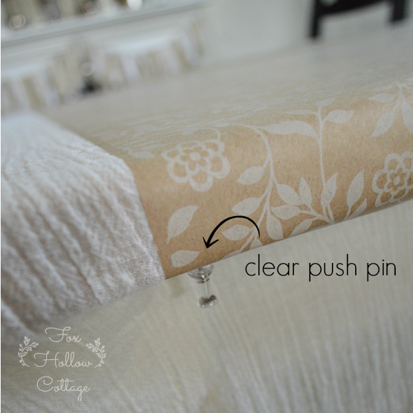 Wrapping Paper Table Runner - clear push pins