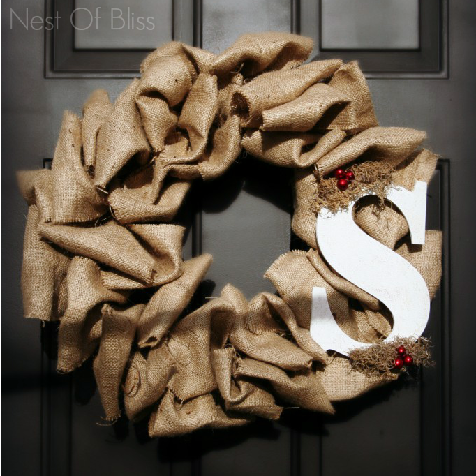 Burlap Diy Craft and Monogram Letter Door Decor