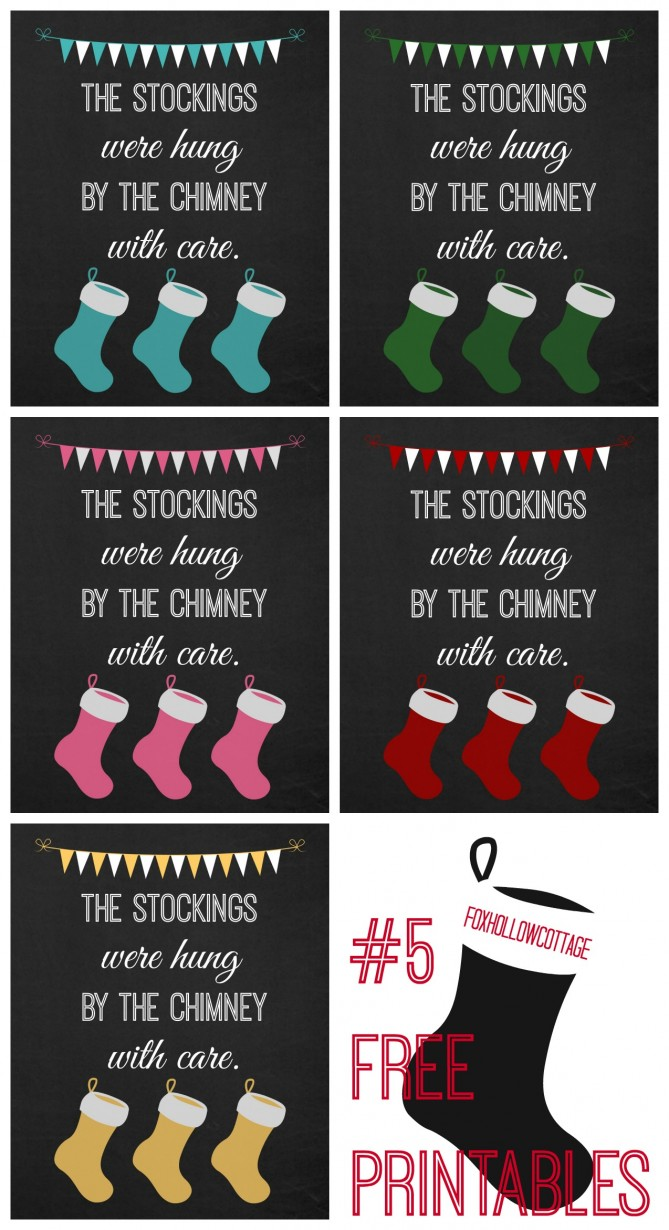 Christmas Stocking Printable Five Colors - Free - at www.foxhollowcottage