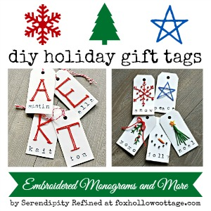 Easy Holiday DIY Gift Tag Tutorial Embroidered Monogram