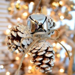 Rustic Jingle Bell Pinecone Christmas Tree Ornament