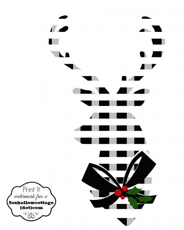 Printable Deer Head Silhouette Black White