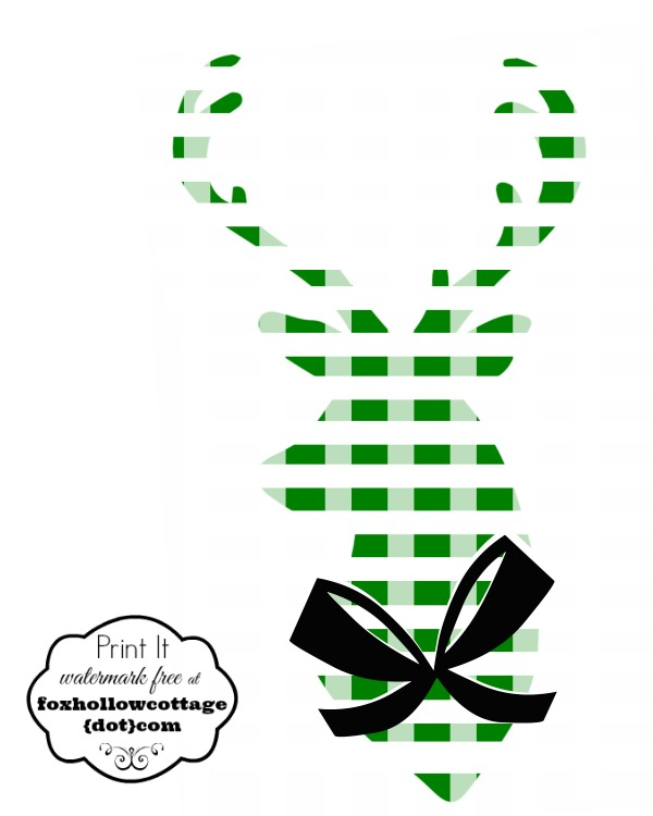 Printable Deer Head Silhouette Green White Plaid