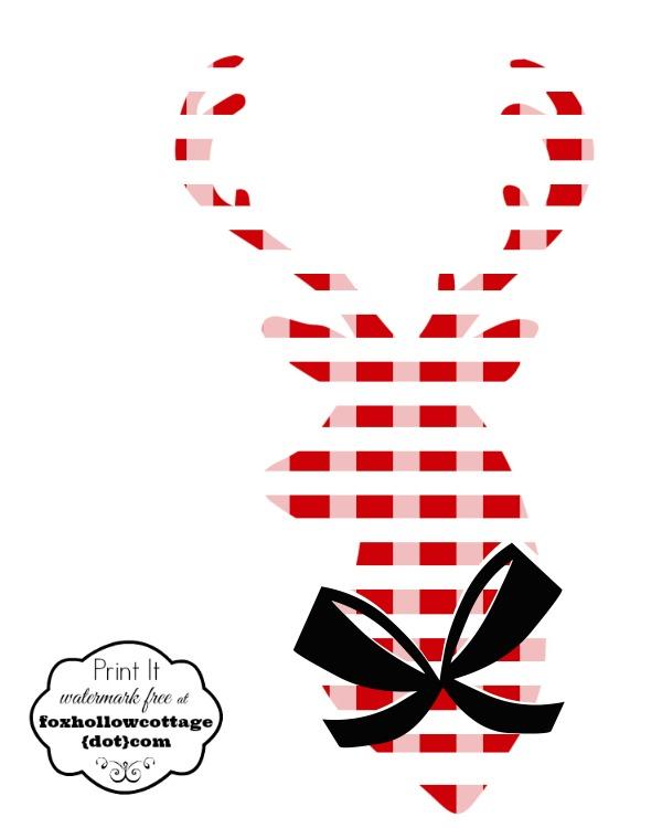 Printable Deer Head Silhouette Red White Plaid