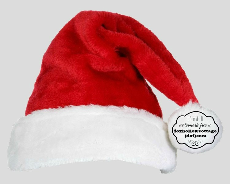 Red Velvet Santa Hat: Free Printable. Cut-Out Party Photo Booth Prop