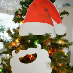 Red Velvet Santa Hat and White Santa Beard Cut Out Printable Photo Booth Prop fi