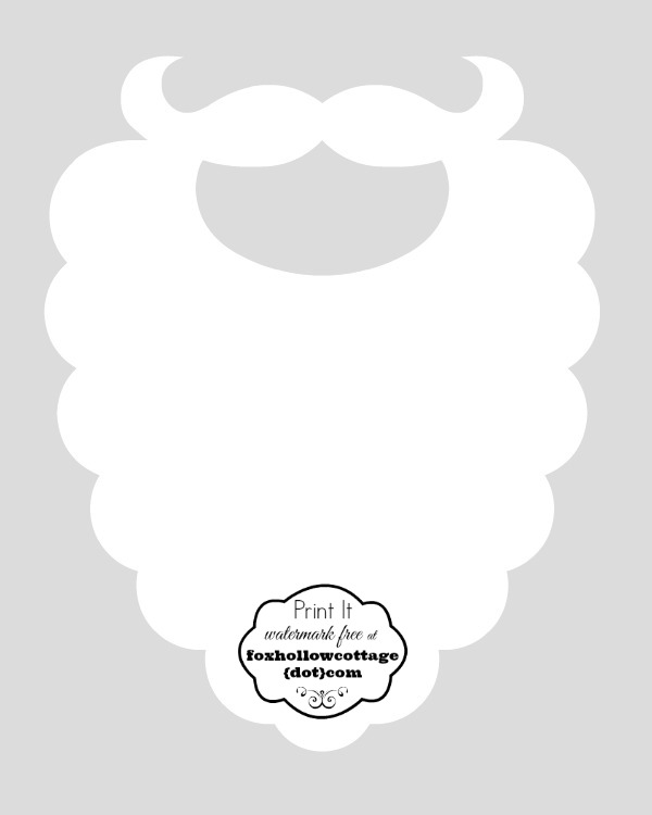 Free christmas printable santa hat and beard photo booth props fox santa beard print and cut out party photo booth prop maxwellsz