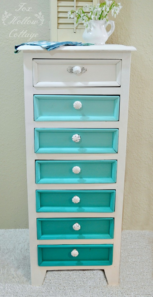 Aqua Ombre Painted Furniture Makeover Colette Maison Blanche Paint