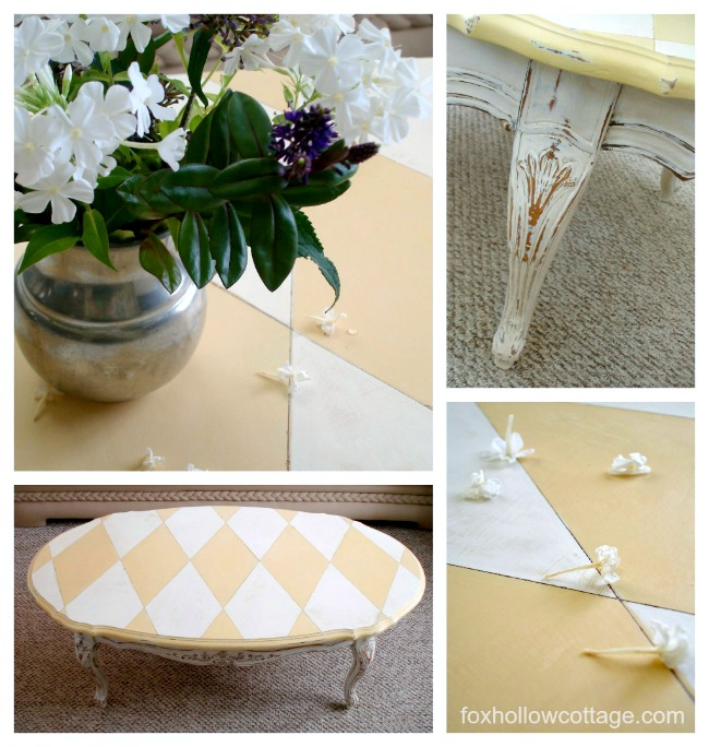 Harlequin Table Makeover Tutorial and How To - foxhollowcottage