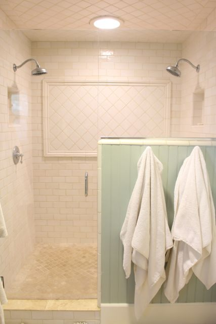 Double Head White Tile Bathroom Shower