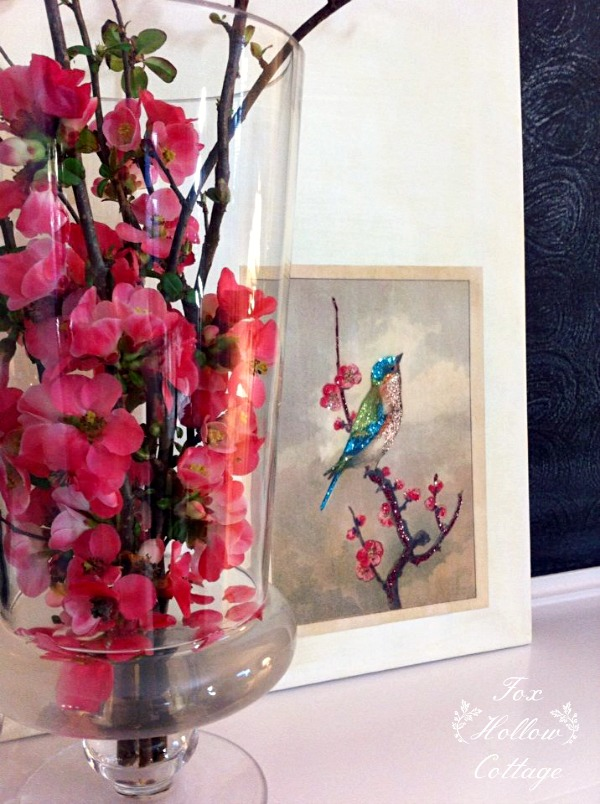Spring Bird Glittered Diy Art - get the cheater secret at www.foxhollowcottage.com