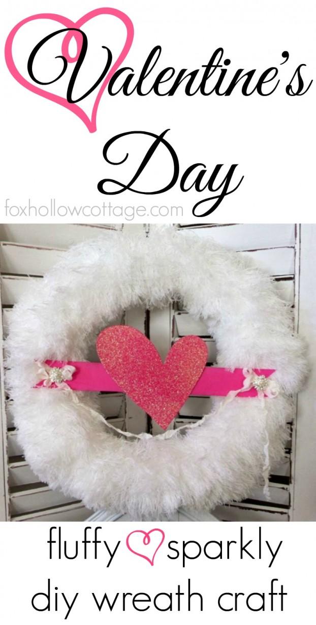 Valentine S Day Diy Fluffy Glitter Heart Wreath Fox Hollow Cottage