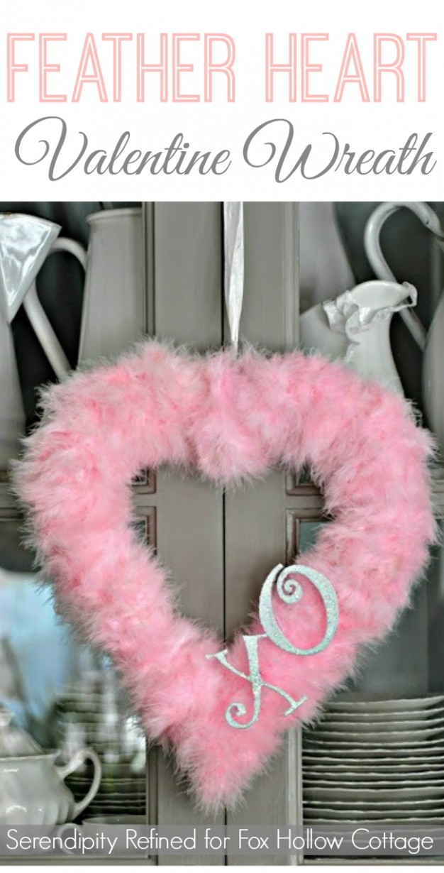 Valentine's Day Craft Feather Heart Wreath
