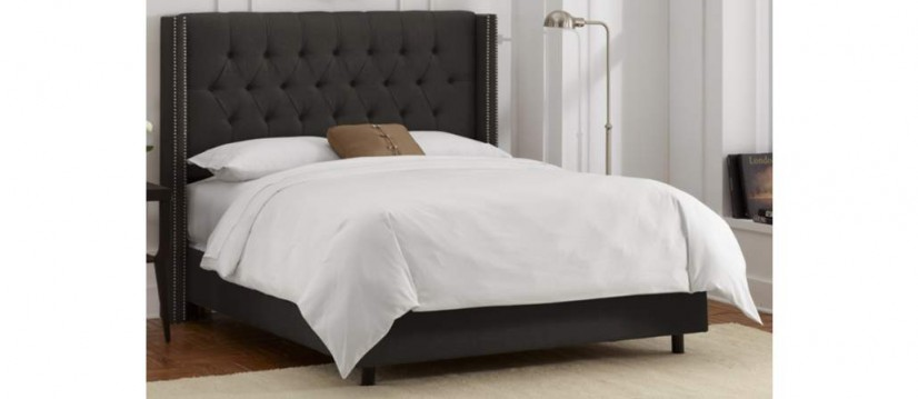 Charcoal Grey Tufted Headboard Platform Bed - 55 downing street