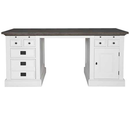 Rustic Shabby White Harbor Gray Wash Writing Desk