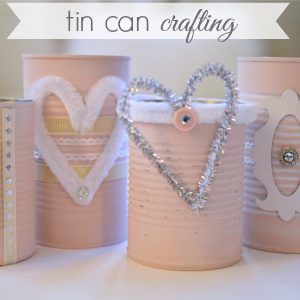 Shabby Pink Tin Can Craft - Repurpose Upcycle 300