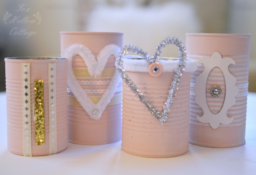 Shabby Pink Tin Can Craft - Repurpose Upcycle 7