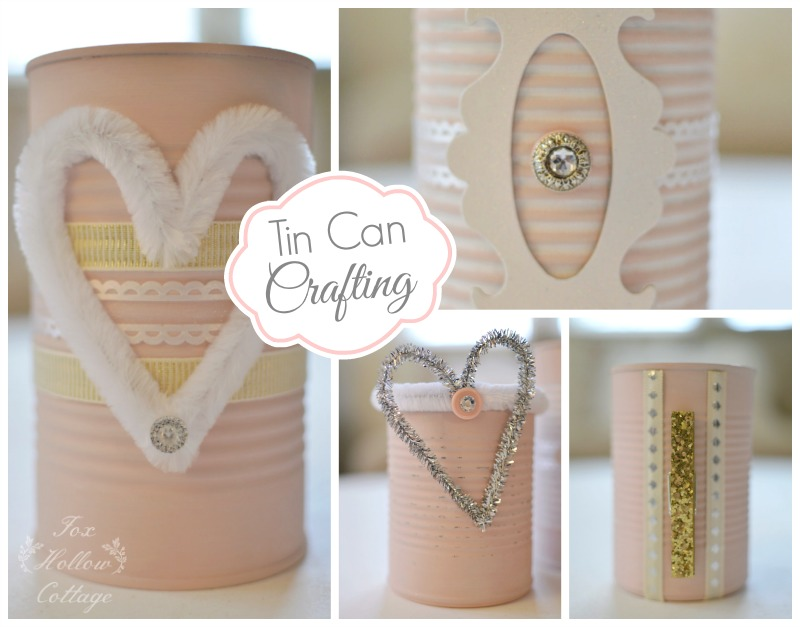 Shabby Pink Tin Can Craft - Repurpose Upcycle 8