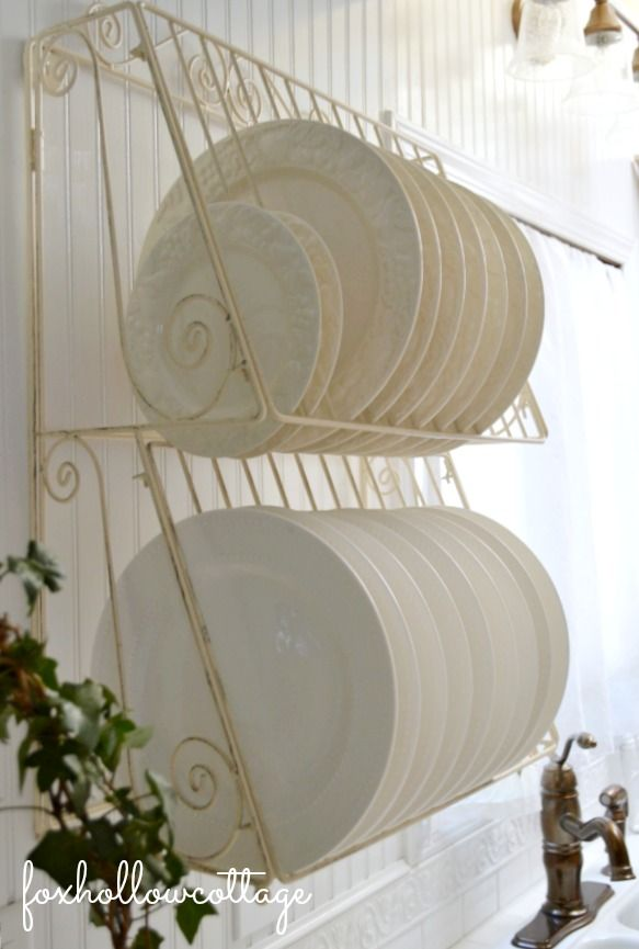 Wire Wall Plate Dish Rack & Cottage Kitchen Apothecary Cabinet: a sensible storage solution ...
