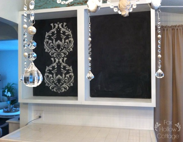 Before - Chalkboard Back Open Kitchen Cabinets with Gold Metallic Polkadot Accent