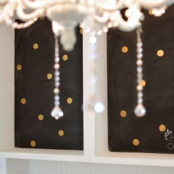 Chalkboard Back Open Kitchen Cabinets with Gold Metallic Polkadots