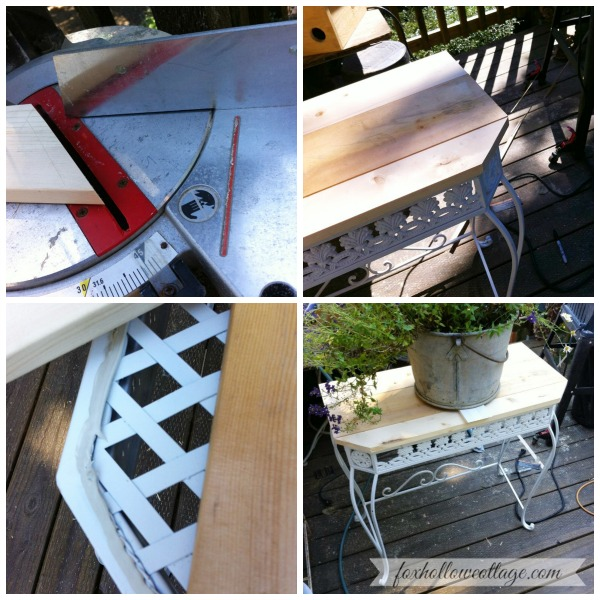Coastal Chic Wood Top Iron Table Makeover