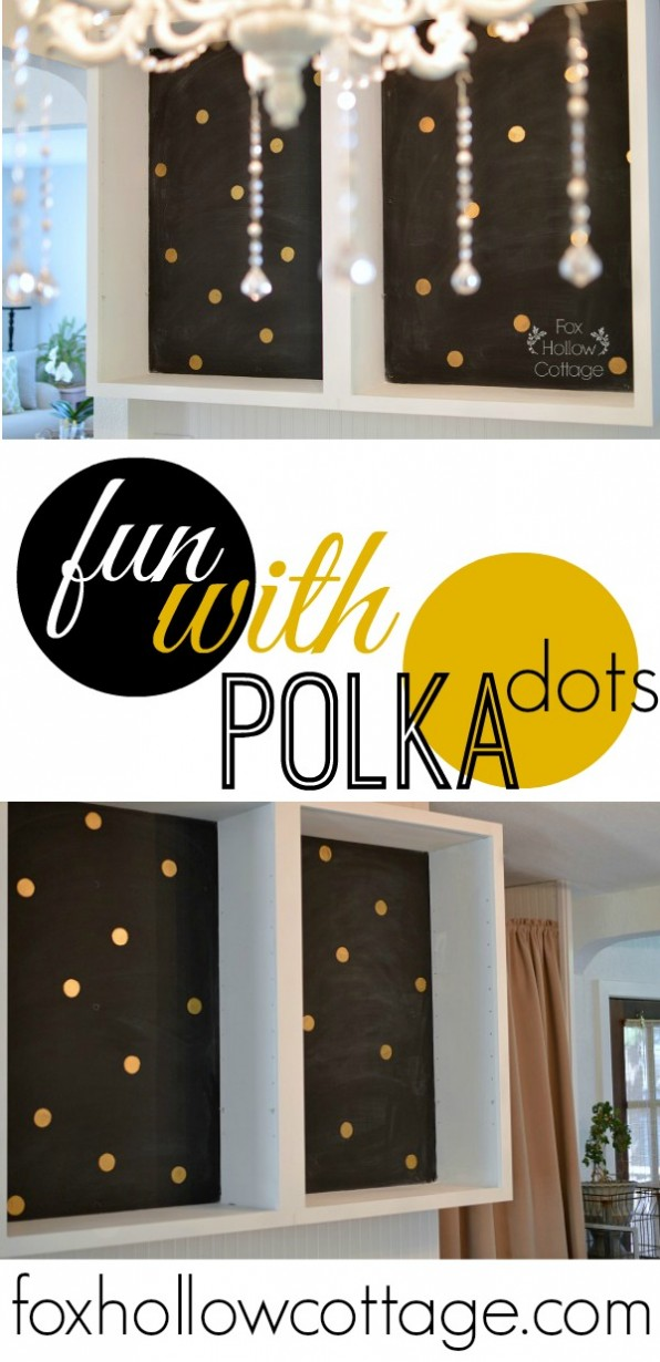 DIY Gold Metallic Polka Dot Open Back Cabinet - Kitchen Fun with Polka Dots