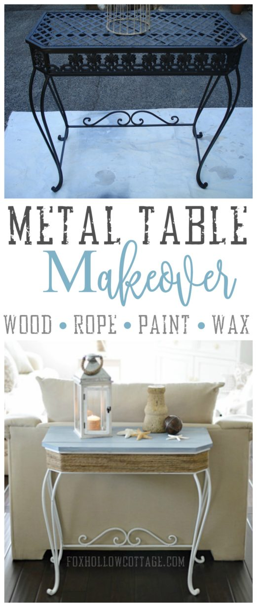Metal table makeover Wood Rope Paint Wax - foxhollowcottage.com - coastal chic before and after furniture diy project