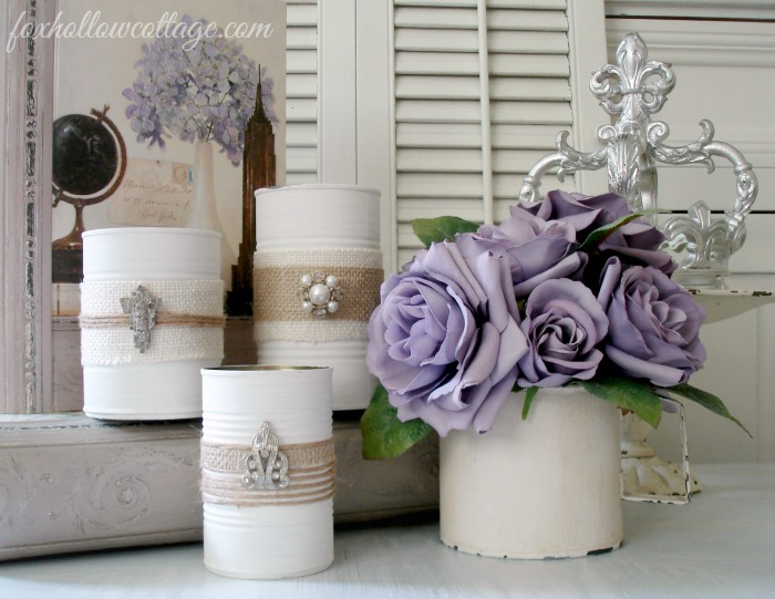 Shabby glam tin can craft project