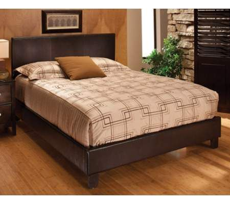 Chocolate Brown Faux Leather Platform Bed