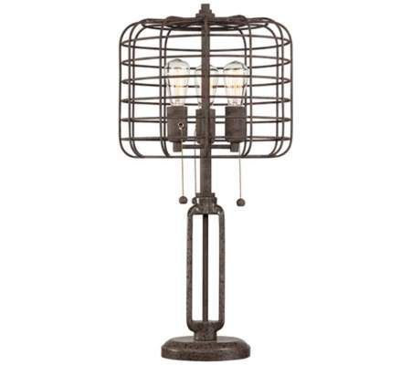 Industrial Cage Lamp with Edison Bulbs