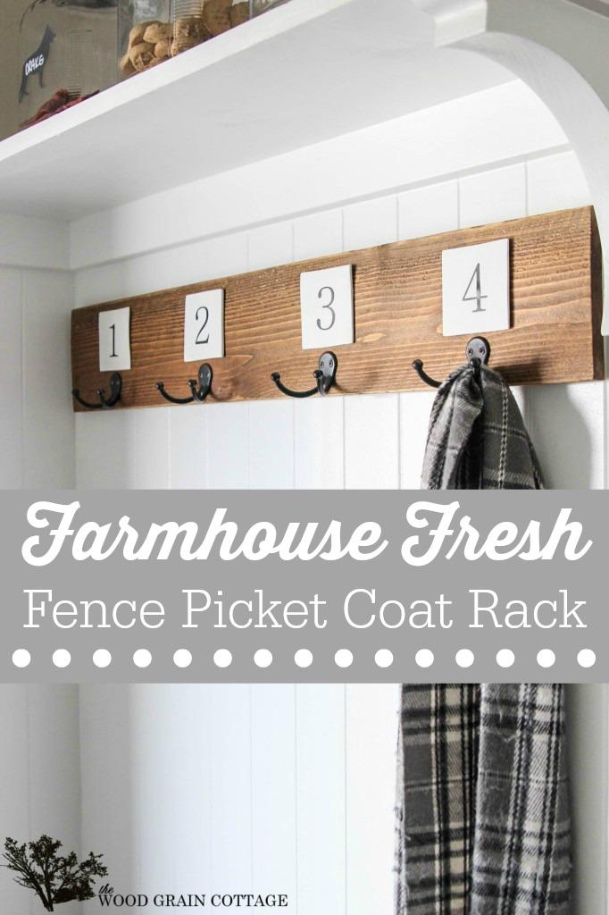 Diy Farmhouse Fence Picket Coat Rack Tutorial