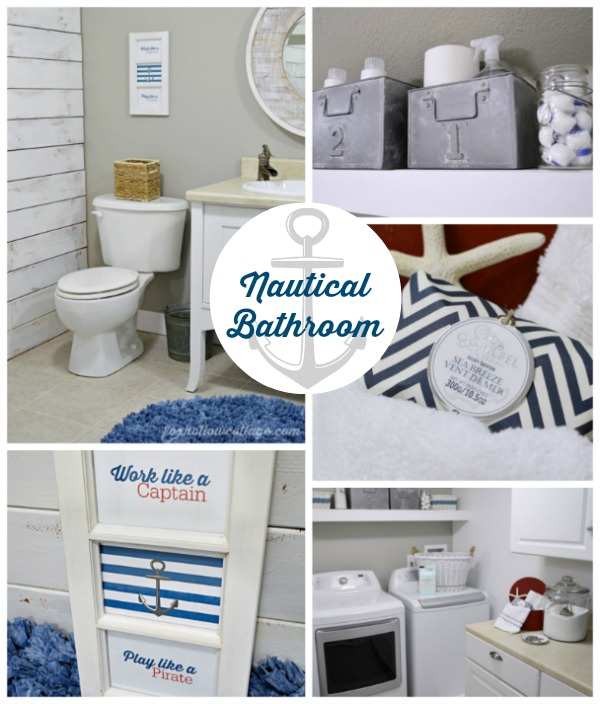 Nautical Basement Powder Bathoom - Laundry Room Makeover - Before and After