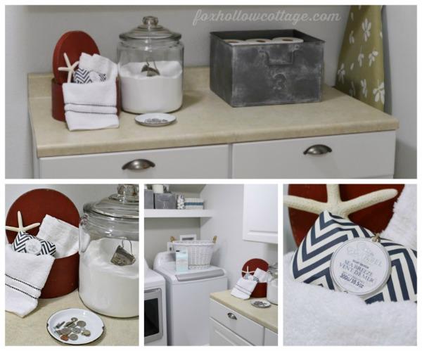 Nautical Laundry Room Makeover - Vintage Galvanized Storage Home Decor #SWRenew #ad