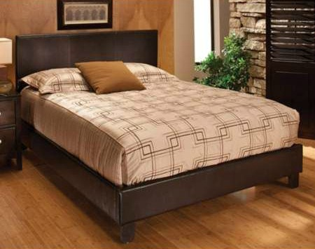 Bedroom Makeover - Affordable Faux Leather Padded Headboard Platform Bed Brown Queen