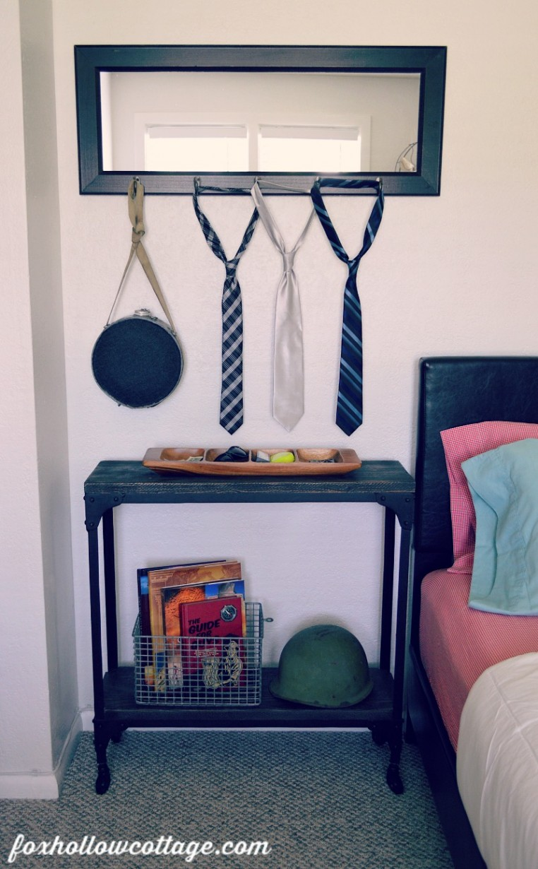 Eclectic Teen Boy Bedroom Makeover - Rustic Industrial Console Side Table Shelf
