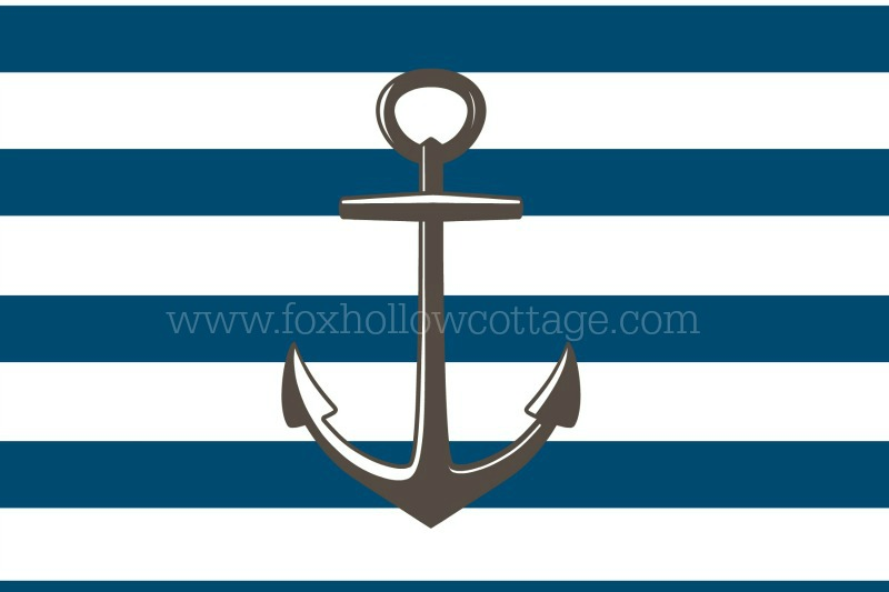 Free Printable Nautical Art - Blue Stripe Gray Anchor - www.foxhollowcottage.com