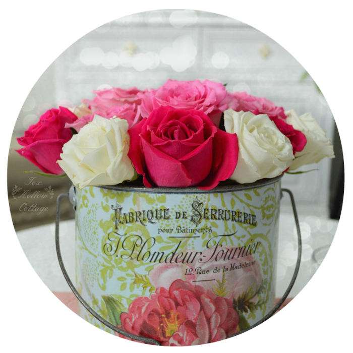 Roses - Vintage French Flower Pail Bucket
