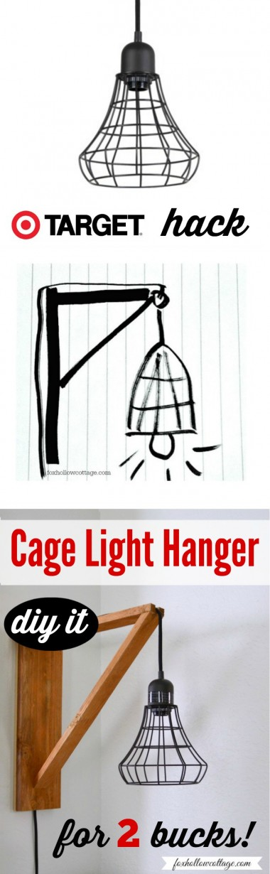 Target Hack - Industrial Pendant Cage Light Makeover - 2 Dollar DIY Wood Wall Hanger Tutorial