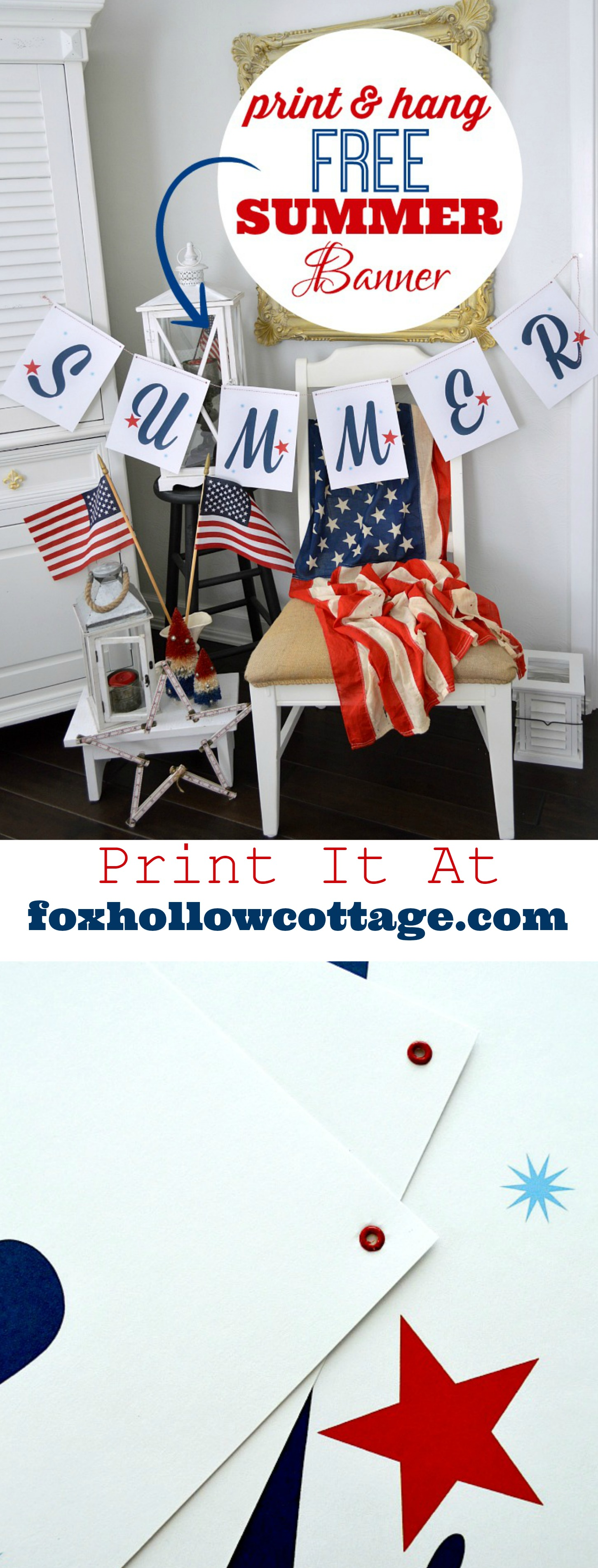 Free SUMMER banner printable - print it at foxhollowcottage.com Fourth Of July