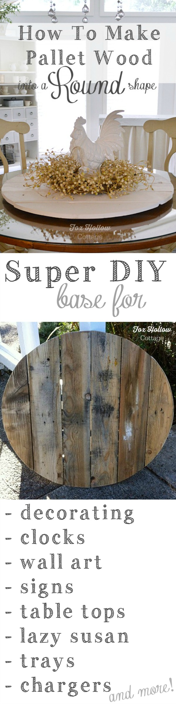 How-to Make Pallet Wood into a Round Circle Shape. Simple beginner friendly DIY tutorial at foxhollowcottage