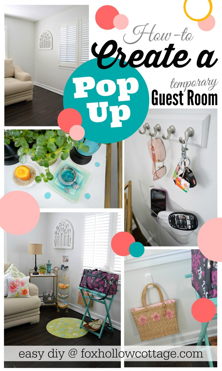 Create a Pop-Up temporary guest room! Diy how-to at foxhollowcottage.com #DamageFreeDIY #ad