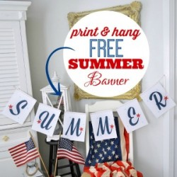 Printable SUMMER banner - Patriotic Red White Blue - www.foxhollowcottage.com - 300