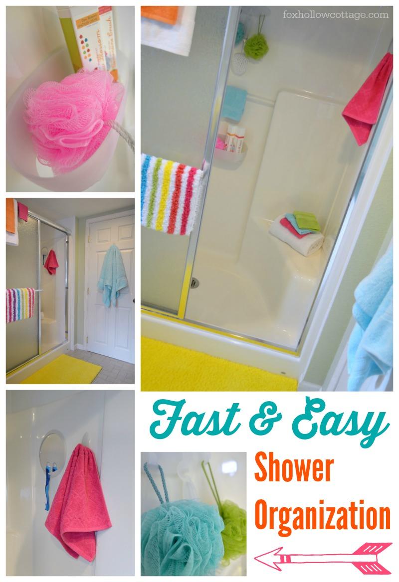 Fast Easy Shower Organization | Command Brand Bathroom Organizing #DamageFreeDIY #ad