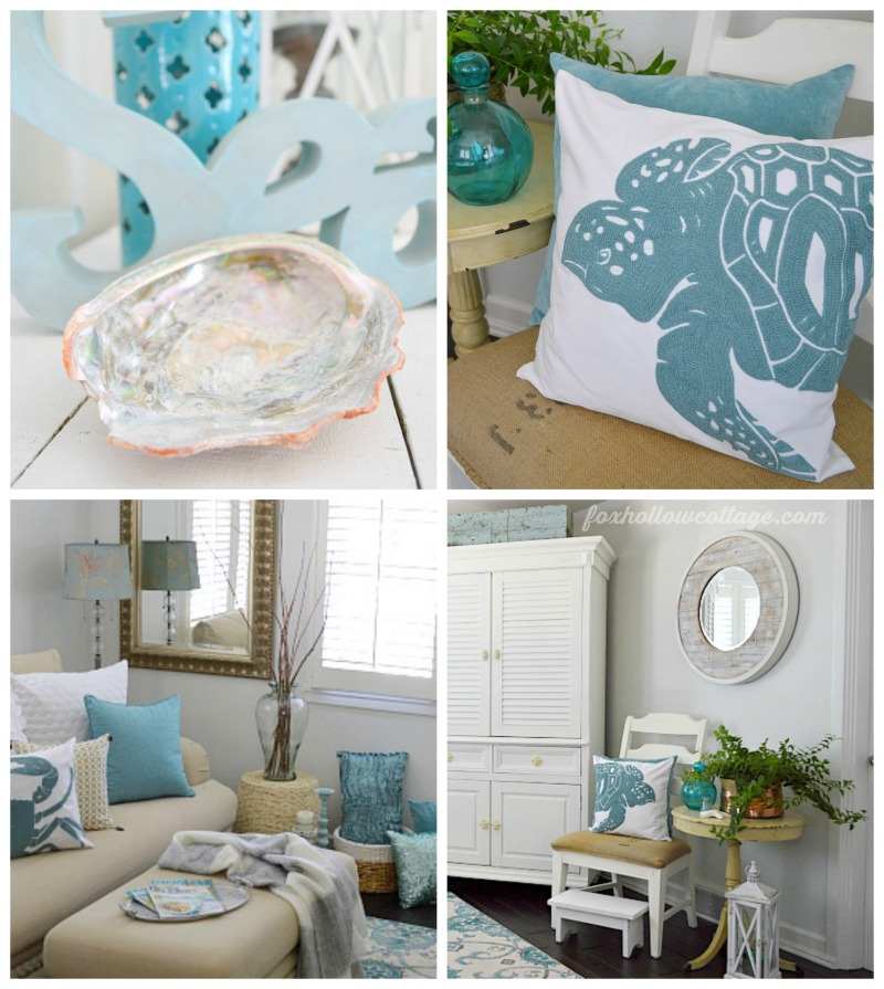 Coastal cottage summer living room fox hollow cottage for Coastal beach home decor